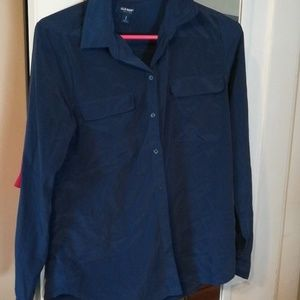 Navy button up with front pockets